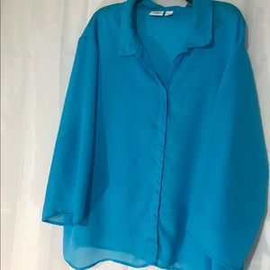 Cato's blue sheer blouse. Size 26W